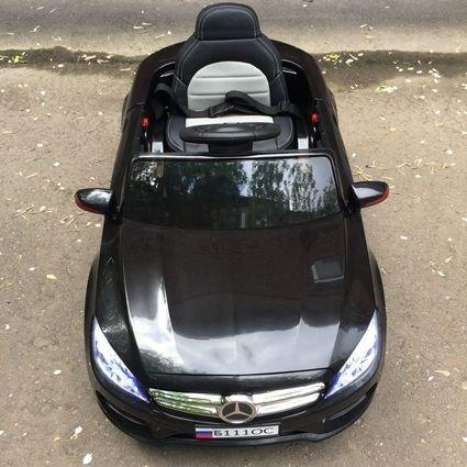 Электромобиль Мерседес Б111ОС черный (резиновые колеса, кожа, пульт, музыка)